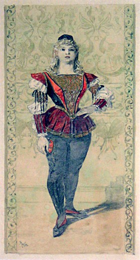 Boy with blond, curly shoulder-length hair, with an ornate red and blue bodice with ruffled sleeves holding his left hand on his hop with one foot forwards