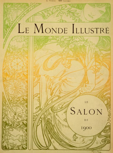 Line drawing of a woman with a foliage motif holding a sprig of flowers surrounded by a decorative border; colours run from light green at the top to dark yellow in the middle and dark green at the bottom; the text 'Le Monde Illustré' sits at the top of the page and 'Le Salon de 1900' in a disk in the bottom right hand corner of the page