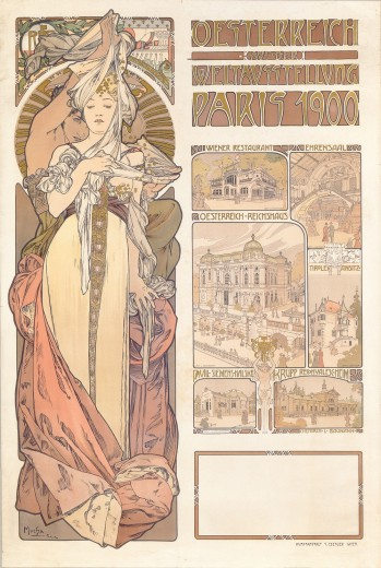left panel: woman dressed in a long gown and a sash held up by a figure behind; right: text with drawings of Austrian buildings at the fair