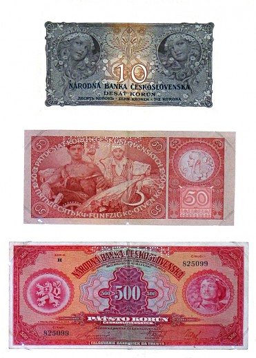 Three banknotes of 10, 50 and 500 crowns