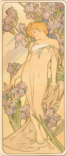 A full length female figure with fair hair and a near-transparent dress leans her head to her right and closes her eyes; she stands against a backdrop of mauve irises