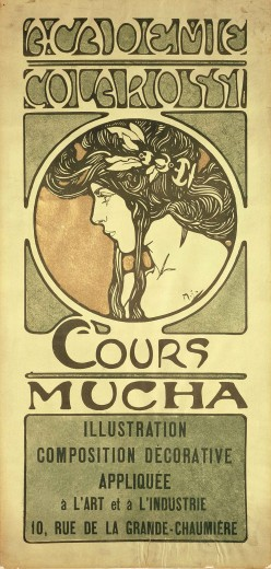 Stylised black and white drawing of a woman's head in profile on a brown background framed by green decorative elements; the text 'Académie Colarossi' at the top of the composition and 'Cours Mucha' at the bottom followed by details of the class in a green box