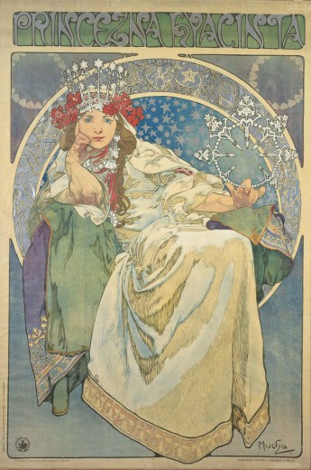 The actress wears a white gown and a decorative crown and is seated on green fabric with her head supported by her right arm; she is set against a sky of stars and is encircled with images of blacksmith's tools, a gold crown, hearts, vessels and monsters.