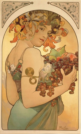 A woman seen side-on with irises in her hair and grapes, pears, apples and soft fruits in her arms  turns towards the viewer