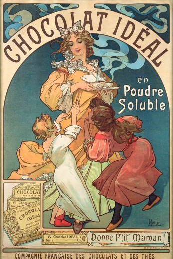 A little boy in his pyjamas and a little girl in a red dress pull at a woman holding 3 cups of steaming hot chocolate. The words 'Chocolat idéal en poudre soluble' sits at the top of the poster, and the bottom of the poster has company details and an image of the chocolate powder in its packaging.