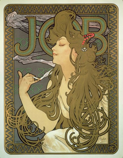 A woman with long, golden hair and closed eyes smokes a cigarette. The smoke wraps around her head. The word 'Job' sits behind her and the poster is framed with a zig zag mosaic border in gold and dark blue.