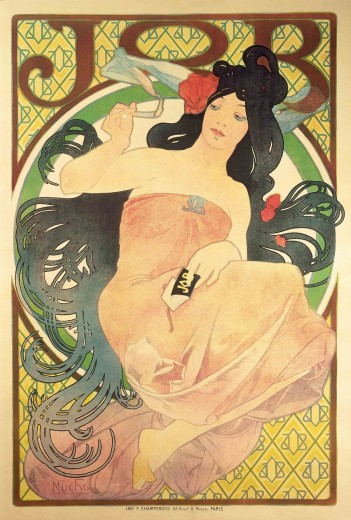 A woman with long, black hair dressed in an orange strapless dress holds a cigarette in her right hand and a packet of Job cigarette papers in her left hand. The smoke wraps around her head. The figure is framed by a circle with the word 'Job' above.