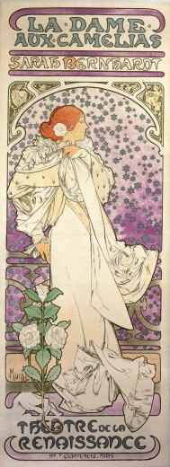 A full-length Bernhardt leans against a balustrade in a white gown with a camellia in her hair and a camellia plant at her feet. Her face is in profile and framed with silver stars against a mauve background. The words 'La Dame aux Camélias' and 'Sarah Bernhardt' feature at the top of the poster, and 'Théâtre de la Renaissance' at the bottom.