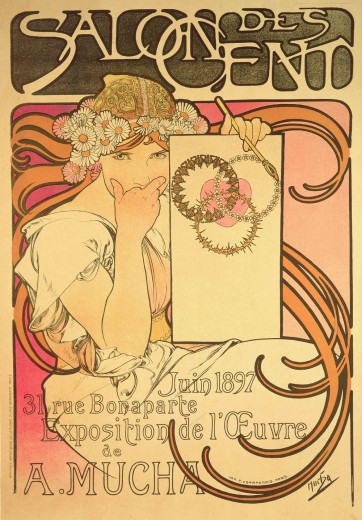 A girl with a folk headdress and daisies in her hair holds her right hand to her mouth and a panel with a heart encircled by three garlands in her left hand. The words 'Salon des Cent' features at the top of the poster and the exhibition details feature at the bottom