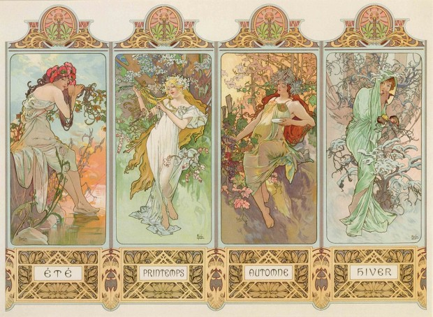 Four decorative panels with four female figures entwined with seasonal plants and the names of the seasons at the bottom of each panel