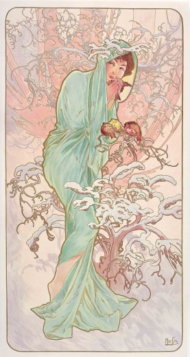 A dark haired woman wrapped in pale green drapery and surrounded by snow-covered branches holds a small bird in her hands