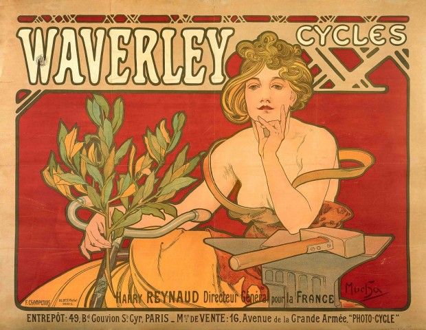 A woman with golden hair in an ochre dress with bare shoulders sits on a bicycle against a red background with her chin resting on her left arm supported by an anvil and holding a branch of laurel leaves in her right hand