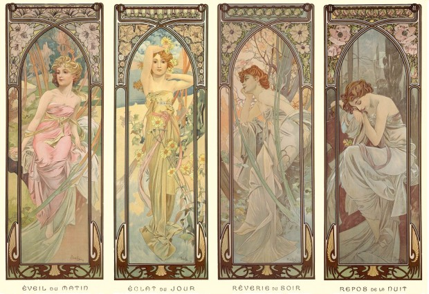 4 vertical panels of female figures (see individual works)