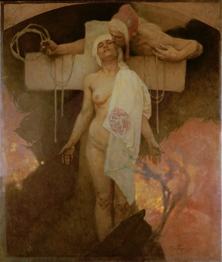 A naked woman with a white headdress draped over her left breast stands at the centre of the composition against a cross and a dark and firey landscape; a man wearing a red cap and holding a rope leans over from behind the cross and kisses the woman's cheek