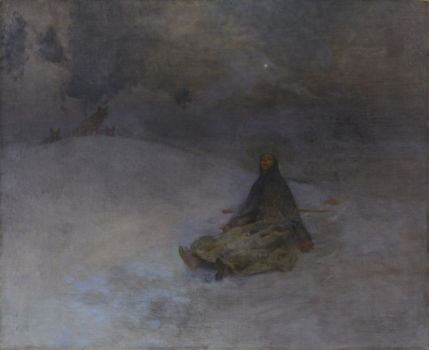 A peasant woman in a dark headdress sits with her head to the sky in a gesture of resignation; the dark colours of her barren, moonlit surroundings merge into the night sky; 3 wolves look on from the horizon