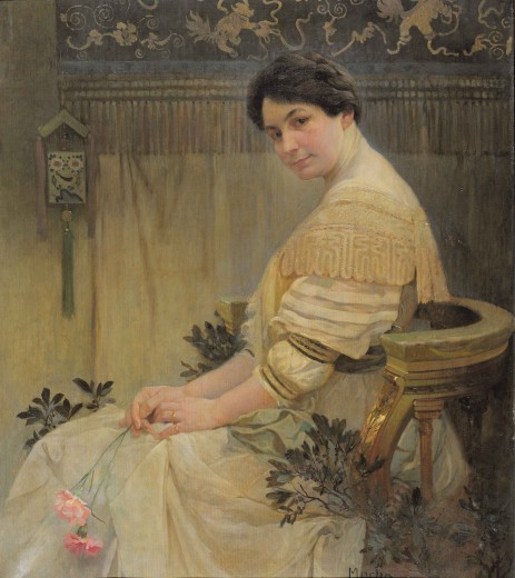 The artist's wife dressed in white holding a pink rose, sitting in profile in front of a tapestry