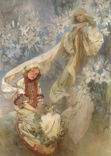 An ethereal vision of Madonna, surrounded with a mass of lilies, sits above a seated young girl in Slavic folk costume holding a wreath of ivy leaves