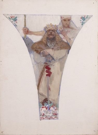 A pendentive with a male bearded figure in robes and a crown holding a sword in front of a woman in folk dress holding a stick
