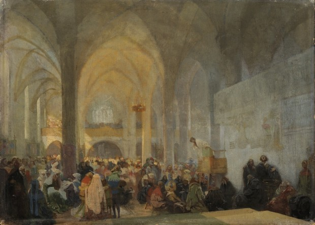 Interior of a church with figures gathered around a preacher in a pulpit