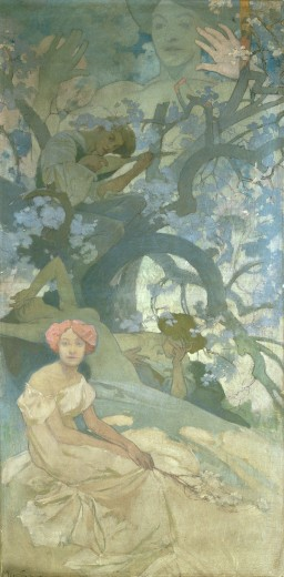 Three figures sit in a tree: a boy with a lyre, a girl with her head in her right hand and a naked female with her head arched back; in the foreground a girl sits looking towards the viewer and behind the tree a larger than life female figure with her hands raised looms above the scene