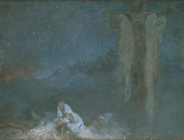 Set against a dark blue night sky a couple in traditional costume crouch down in hiding while three ghostly shapes loom above them in the right of the painting