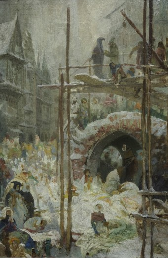 Street scene with figures in the snow and men climbing on a brick archway and scafolding structure