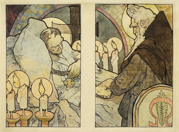 On the left panel an elderly man lies in bed holding a cross medallion with candles burning in front an a crucifix behind; in the right panel an elderly man in dark robes with white hair and a beard holds the hand of the old man