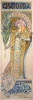 A full-length Bernhardt stands in a Byzantine gown and a floral headpiece holding a palm leaf. Her face is framed with a mosaic style halo featuring her name. The words 'Gismonda' feature at the top of the poster, and 'Théâtre de la Renaissance' at the bottom.